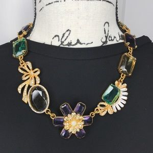 Gorgeous adjustable jewel toned crystal necklace!
